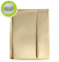 eniTAB360 Large Universal Tablet Case - Saffiano Metallic Wrap Gold