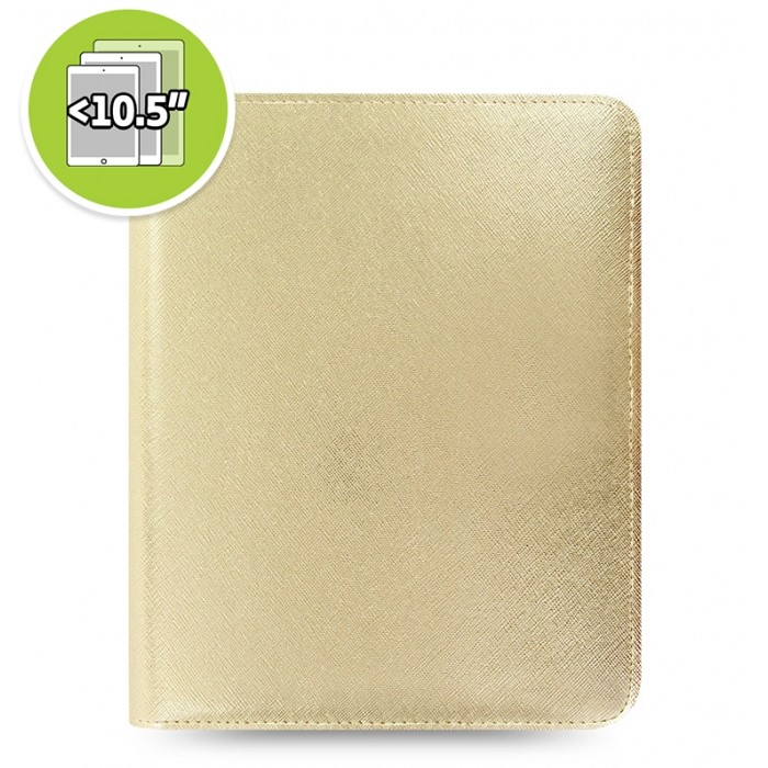 eniTAB360 Large Universal Tablet Case - Saffiano Metallic Zip Gold