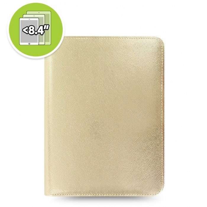 eniTAB360 Small Universal Tablet Case - Saffiano Metallic Zip Gold