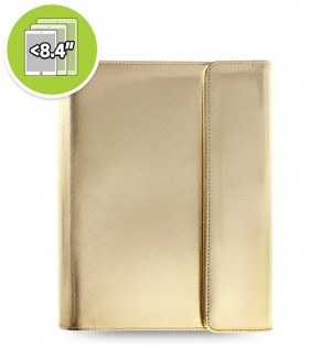 eniTAB360 Small Universal Tablet Case - Saffiano Metallic Wrap Gold